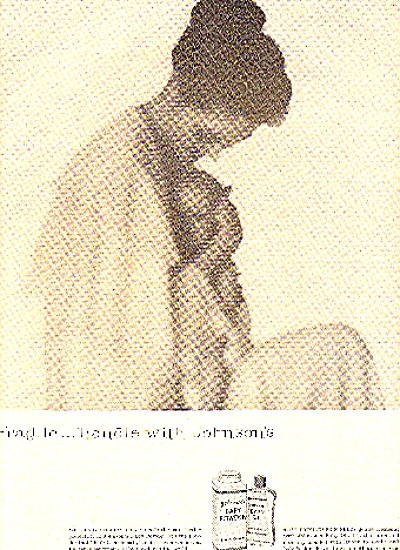 1957 JOHNSON'S BABY POWDER AND BABY OIL AD (Image1)