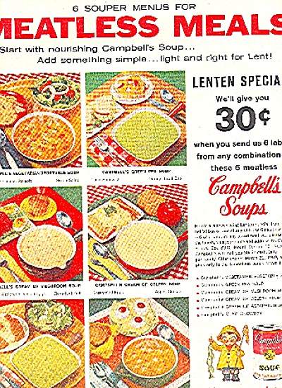 1959 CAMPBELL'S SOUP MEATLESS MEALS AD (Image1)