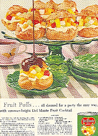 1959 DEL-MONTE FRUIT COCKTAIL FRUIT PUFFS AD (Image1)