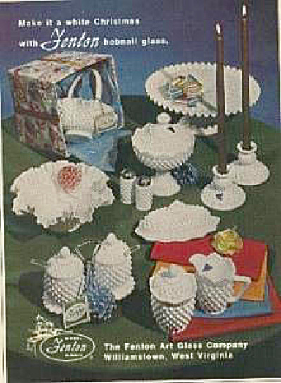 Fenton Art Glass Hobmail White Christmas AD (Image1)