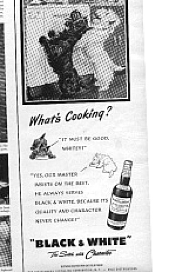 1950 Black And White Scotty Dogs Whisky Ad