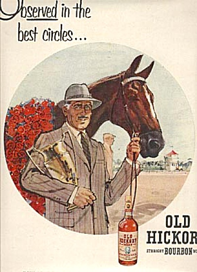 1954 Horse Racing Old Hickory Bourbon Ad
