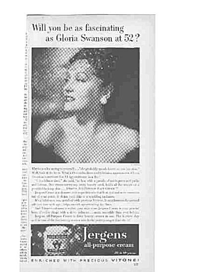 1951 Gloria Swanson Jergens Cream Ad (Image1)