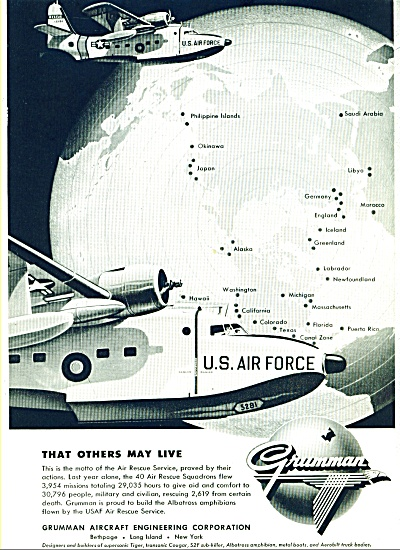 1957 Grumman AIRCRAFT USAF Rescue Service AD (Image1)