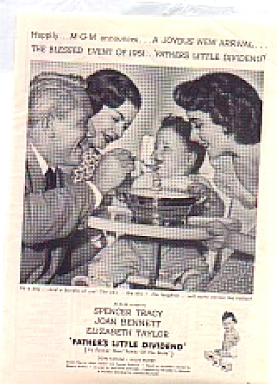 1951 Fathers Little Divivend Liz Taylor Ad (Image1)