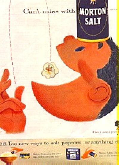 1956 Morton Salt POPCORN MAN Ad (Image1)