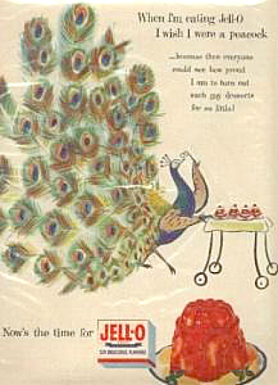 1950's Jello I Wish I Were A Peacock Ad
