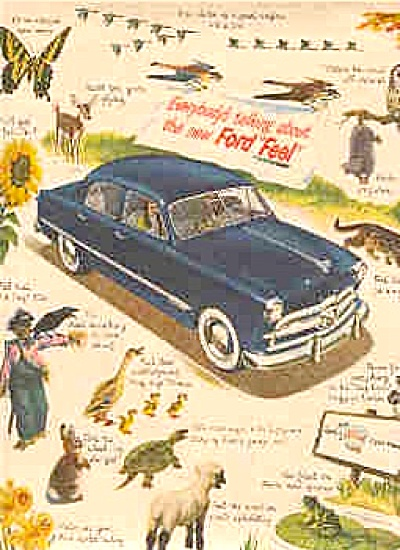 1949 Blue EVERYBODY'S Ford Car  Animals Ad (Image1)