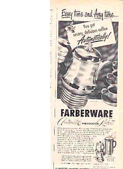 1950 Farberware Automatic Robot Percolator Ad