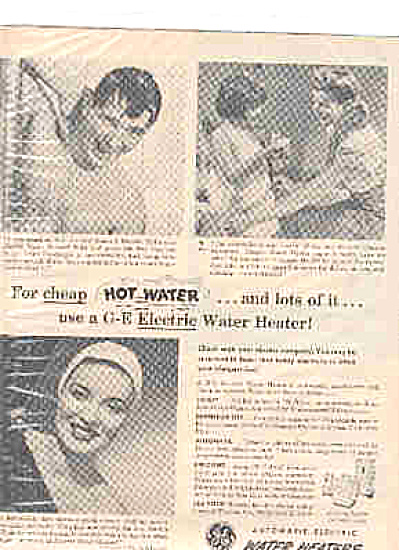 1949 GeneralElectric Man/Girl/Woman Shower Ad (Image1)
