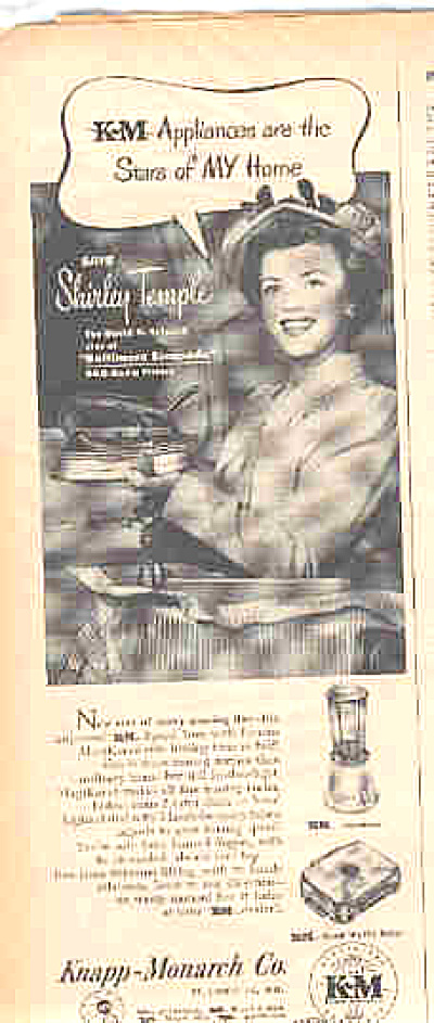 1949 KM Appliances Shirley Temple Ad (Image1)