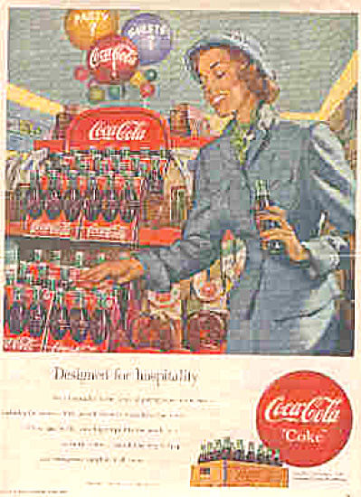 1949 Coca-Cola Party Beautiful Lady Ad (Image1)