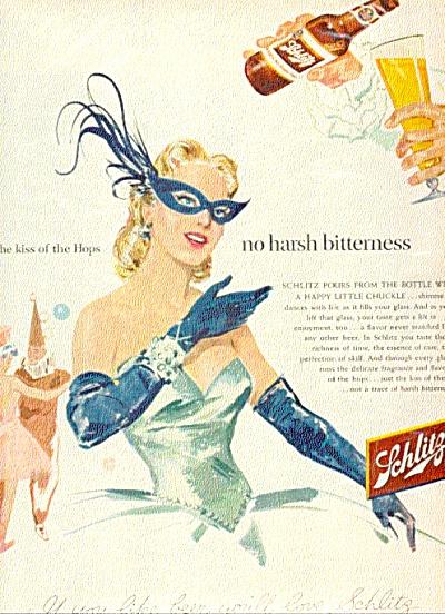 1954 Masked Woman Schlitz Beer AD (Image1)