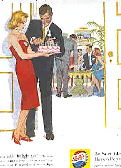 1961 Pepsi Cola Men Women Birthday Party Ad (Image1)