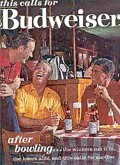 1963 Budweiser BOWLING Men In Bar Smoking Ad (Image1)