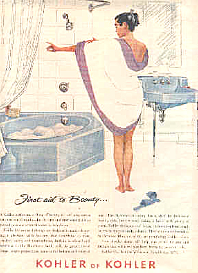 1957 Kohler Beauty Lady In Towel Ad Bathing (Image1)