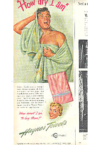 1948 Nude Man In Haynes Towel Ad (Image1)