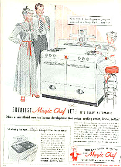 1948 Magic Chef Mom Dad Little Girl Ad (Image1)