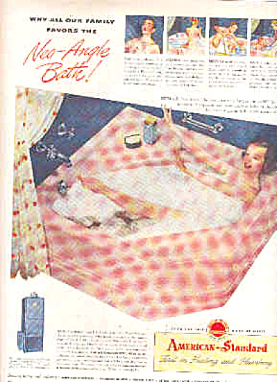 1948 American Standard Nude Family Bathing Ad