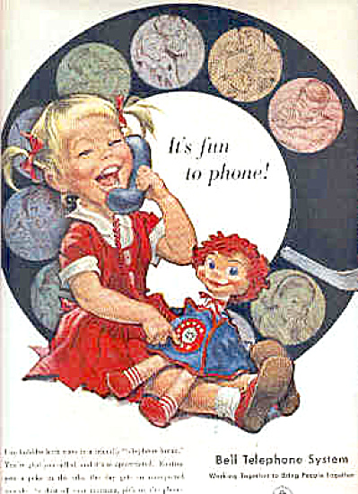 1958 Bell Telephone Cute Little GIRL DOLL AD (Image1)