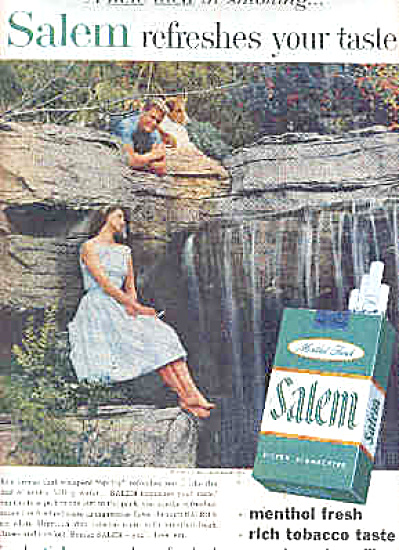 1957 Salem Cigarettes Spring Waterfall Ad (Image1)