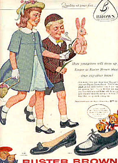 1958 Buster Brown Shoes Easter Bunny Ad (Image1)