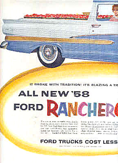 1958 Ford Ranchero Blazing Trail 2 Page Ad (Image1)