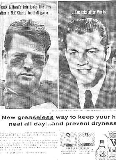 Vintage Frank Gifford Vitalis Hair Tonic Ad (Image1)