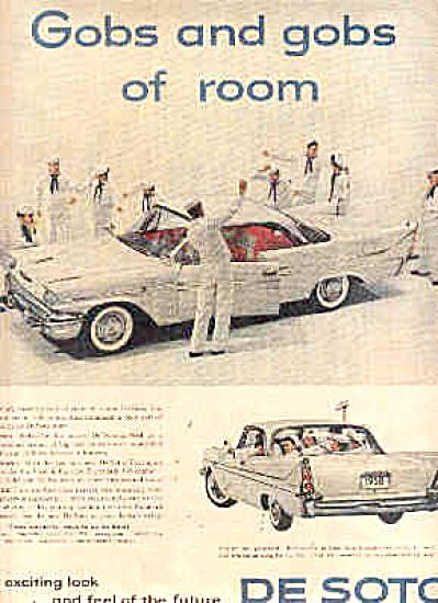1958 DODGE DeSoto Car ~ and 9 NAVY Sailors Ad (Image1)