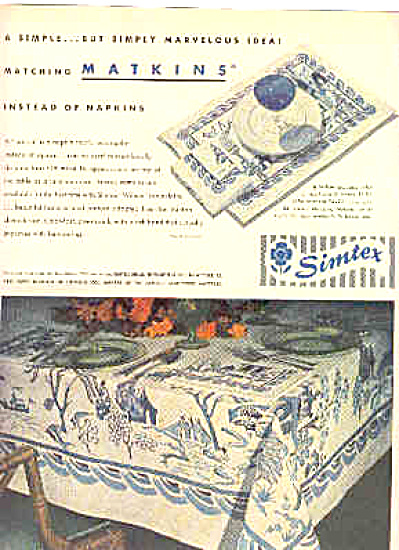 1949 Simtex Blue Willow Tablecloth Ad (Image1)
