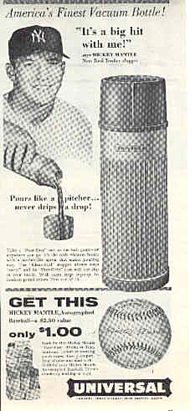 1957 Universal Vacuum Bottle Mickey Mantle Ad (Image1)