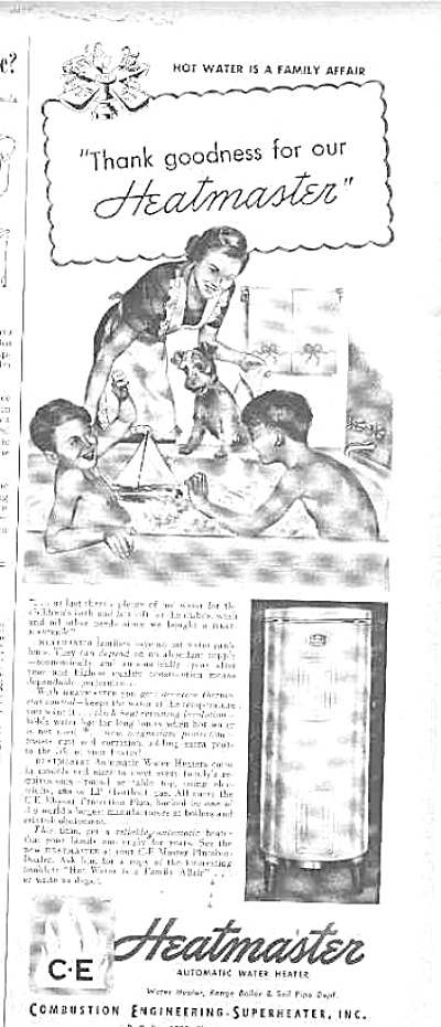 1949 Heatmaster Boys And Dog In Tub Ad (Image1)