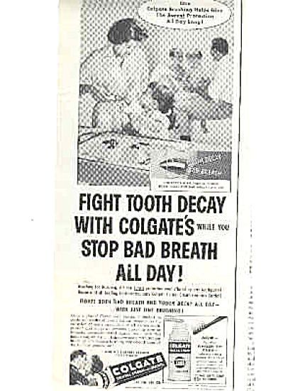 1958 Colgate Boys In Bathtub Ad