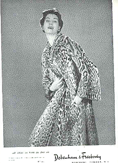 1954 Debenham And Freebody Fur Coat MODEL PRINT Ad (Image1)
