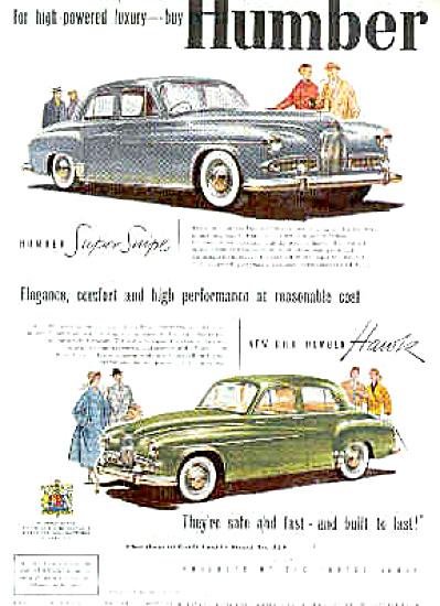 1954 GERMAN Super Swipe Humber Car Ad (Image1)