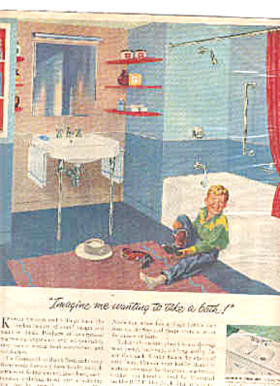 1950 Kohler Bathroom Little Cowboy Boy Ad (Image1)