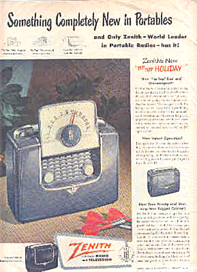 1949 Zenith Portable Radio Tip Top Ad