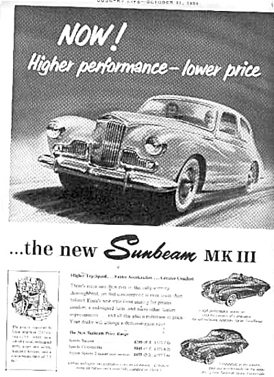 1954 Sunbeam Mk 111 German Car Ad