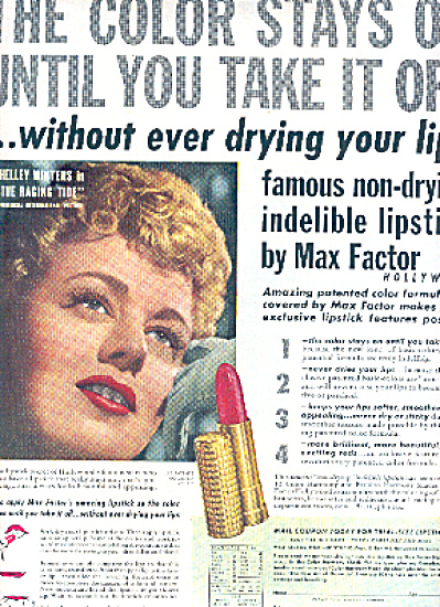 1951 Shelley Winters Max Factor Lipstick Ad (Image1)
