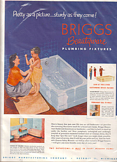 1952 Briggs Plumbing Fixtures Boy in Towel Ad (Image1)