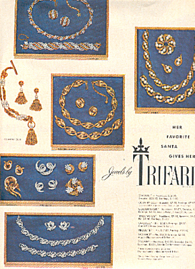 1954 Trifari  Gold /Silver Jewelry Ad (Image1)