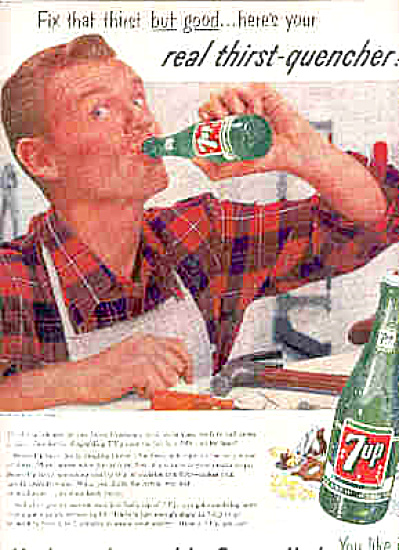 1956 Man Carpenter And Tools Seven Up 7UP Ad (Image1)