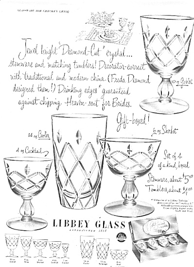 1951 Libbey Diamond Cut Crystal Glass Ad