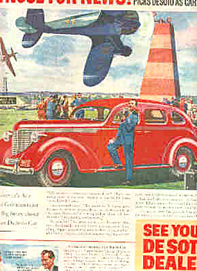 1938 Desoto Car Nose For News Jets SHOW Ad (Image1)
