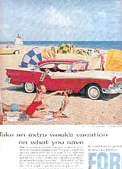 1957 Ford Fairlane 500 Town Victoria Beach Ad (Image1)