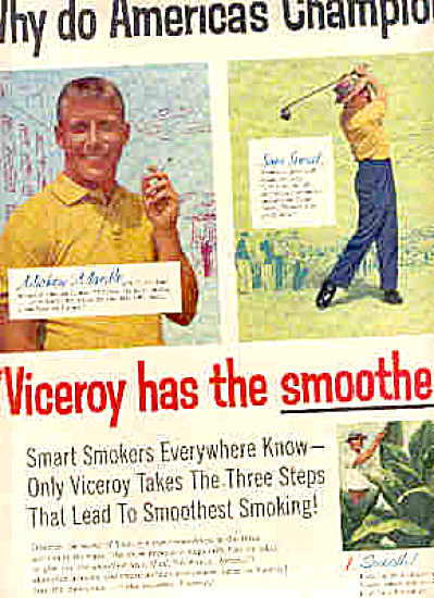 1957 Viceroy MICKEY MANTLE + More CIGARETTEAd (Image1)