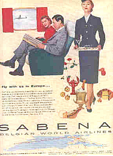 1956 Sabena Belgian World Airlines Ad (Image1)