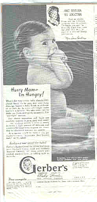 1946 Gerber Foods Naked Hungry Baby Ad