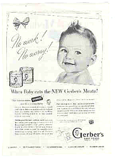 1949 Gerber No Work No Worry Baby Food Ad
