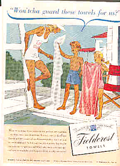 1945 Fieldcrest Towels Lifeguard Kids Ad (Image1)